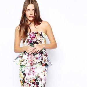 ASOS water color floral strapless dress sz 6